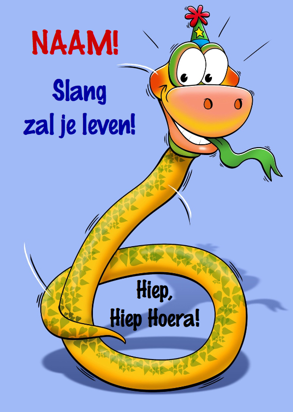 Verjaardagskaarten - Grappige verjaardagkaart slang met lange nek 6 jaar