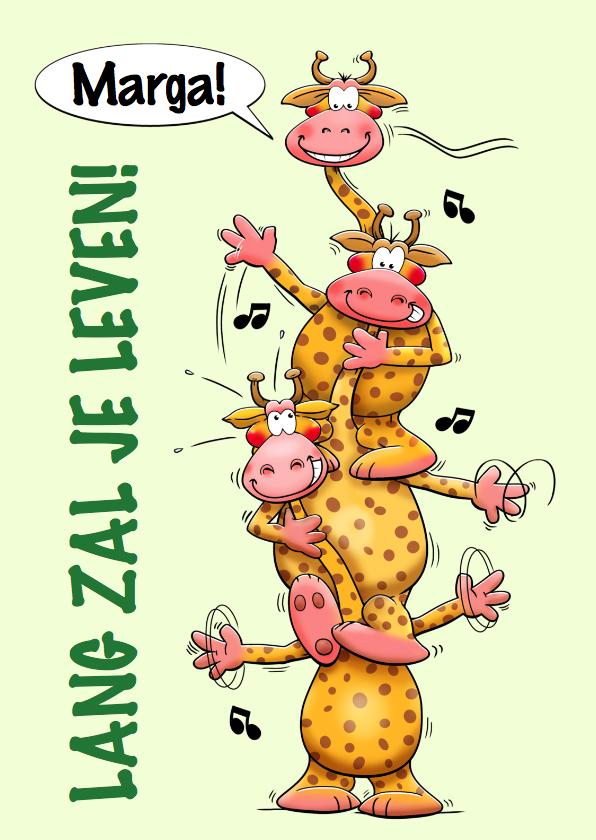 Verjaardagskaarten - Grappige verjaardagskaart gestapelde giraffen