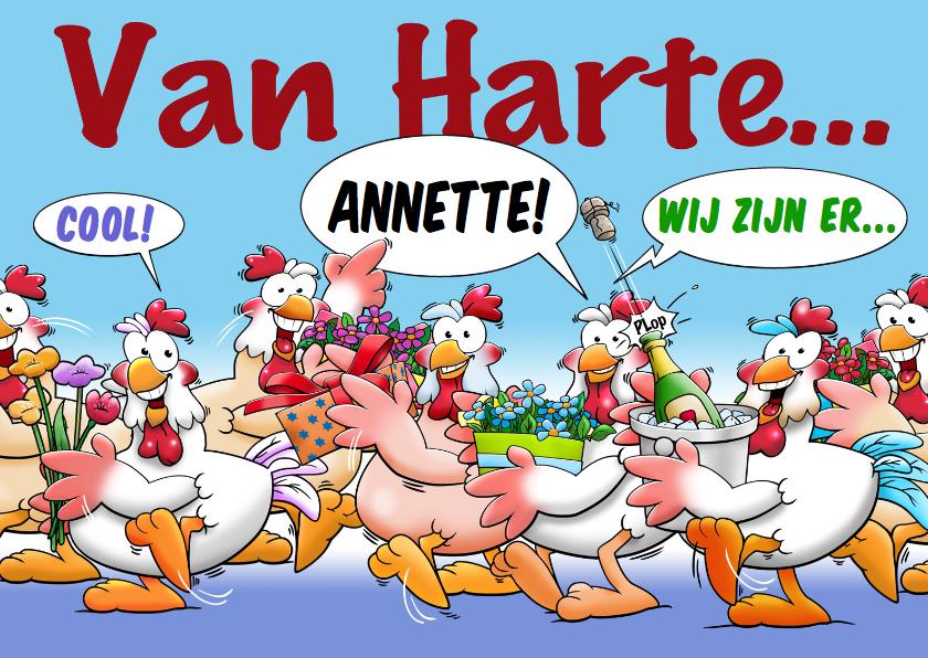 Verjaardagskaarten - Grappige verjaardagskaart kakelende kippen