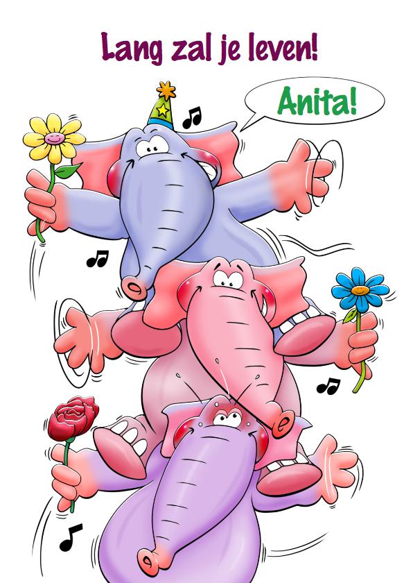 Verjaardagskaarten - Grappige verjaardagskaart met 3 olifanten met bloemen