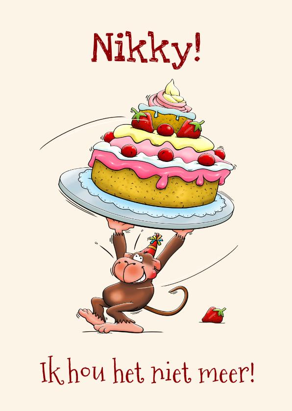 Verjaardagskaarten - Grappige verjaardagskaart met aapje en een hele grote taart