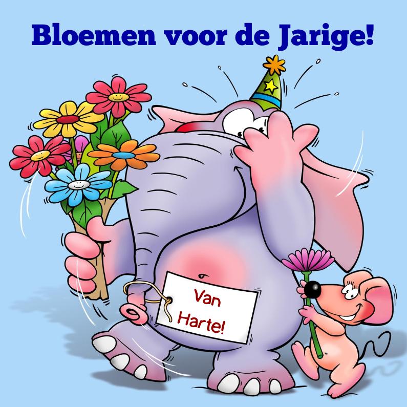 Verjaardagskaarten - Grappige verjaardagskaart met bloemen en olifant
