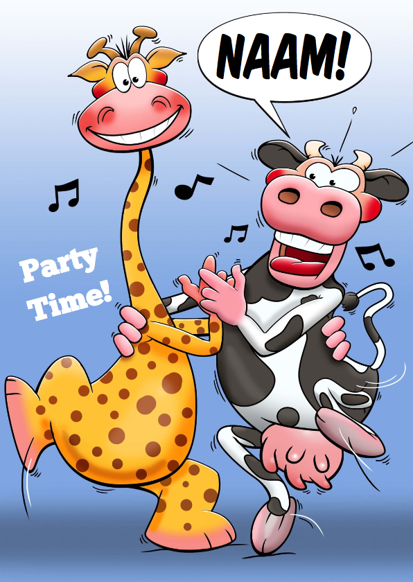 Verjaardagskaarten - Grappige verjaardagskaart met dansende koe en giraf