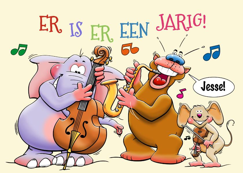 Verjaardagskaarten - Grappige verjaardagskaart met dieren die muziek maken