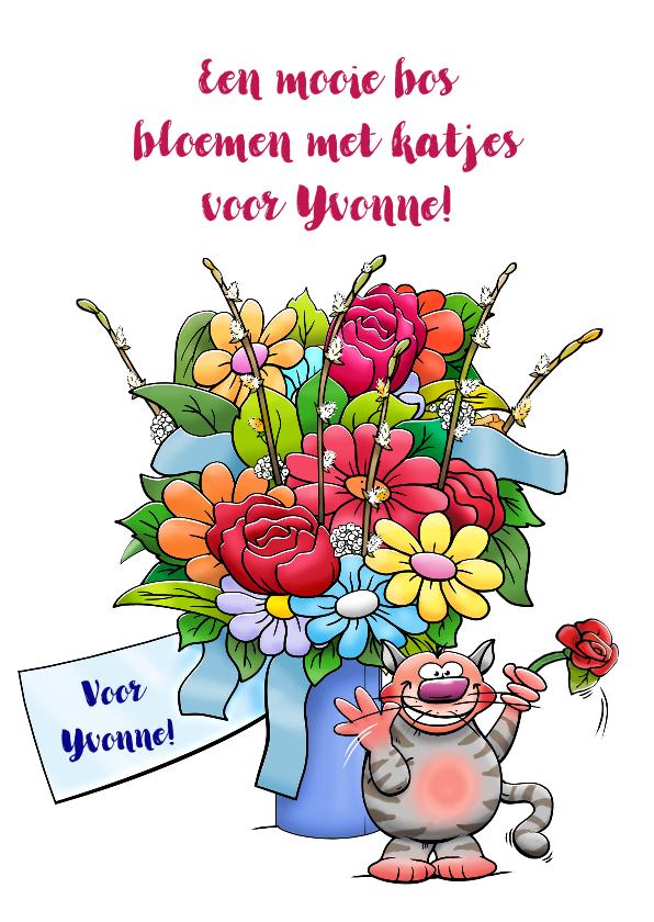 Verjaardagskaarten - Grappige verjaardagskaart met een bos bloemen en katjes
