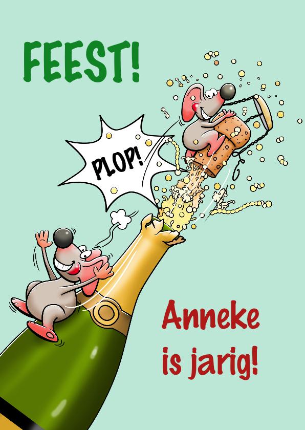 Verjaardagskaarten - Grappige verjaardagskaart met fles champagne en muis