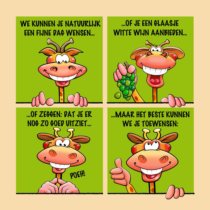 Verjaardagskaarten - Grappige verjaardagskaart met giraffen als stripverhaal