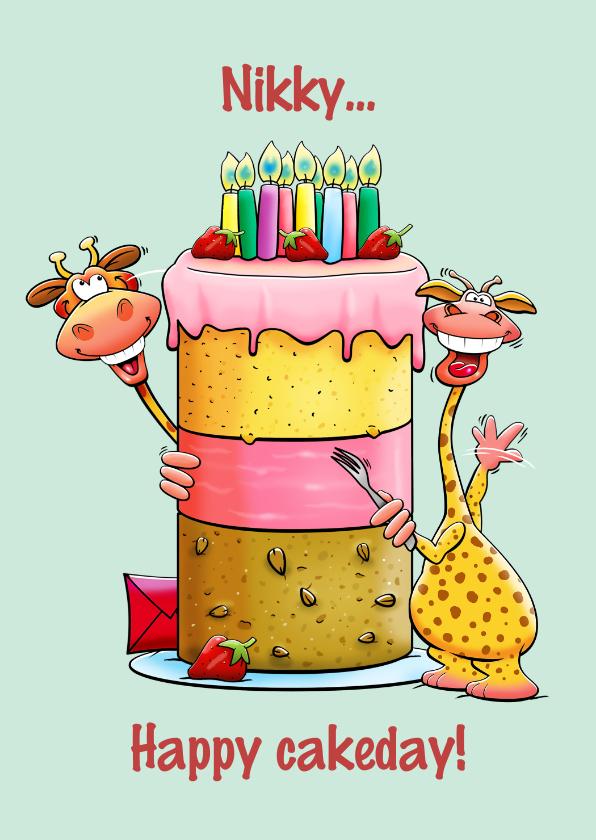 Verjaardagskaarten - Grappige verjaardagskaart met grote taart