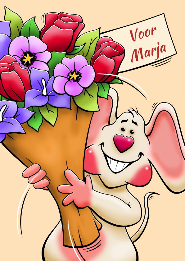 Verjaardagskaarten - Grappige verjaardagskaart met muis en bos bloemen