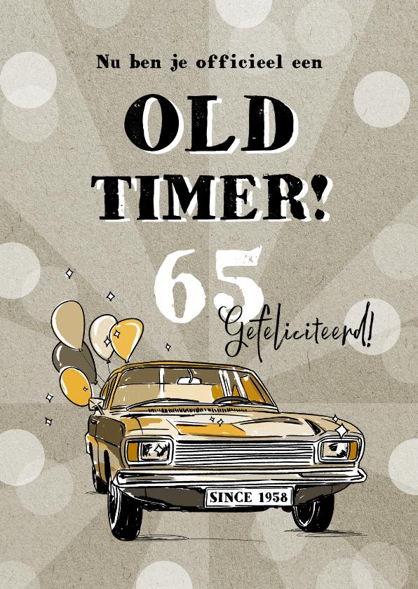 Verjaardagskaarten - Grappige verjaardagskaart met oldtimer en confetti