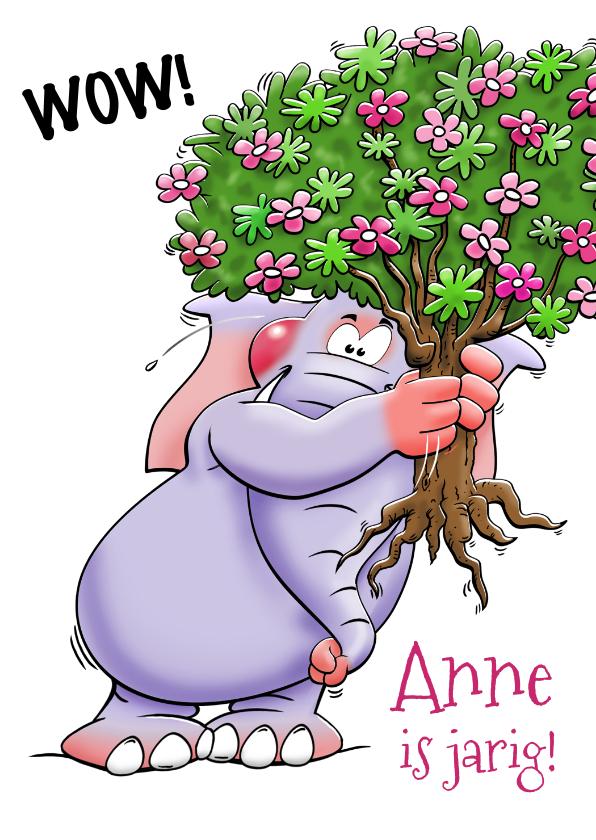 Verjaardagskaarten - Grappige verjaardagskaart met olifant en bosje bloemen.