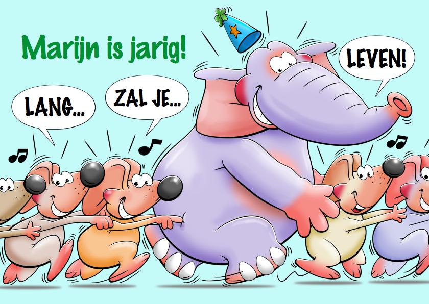 Verjaardagskaarten - Grappige verjaardagskaart met olifant en muizen