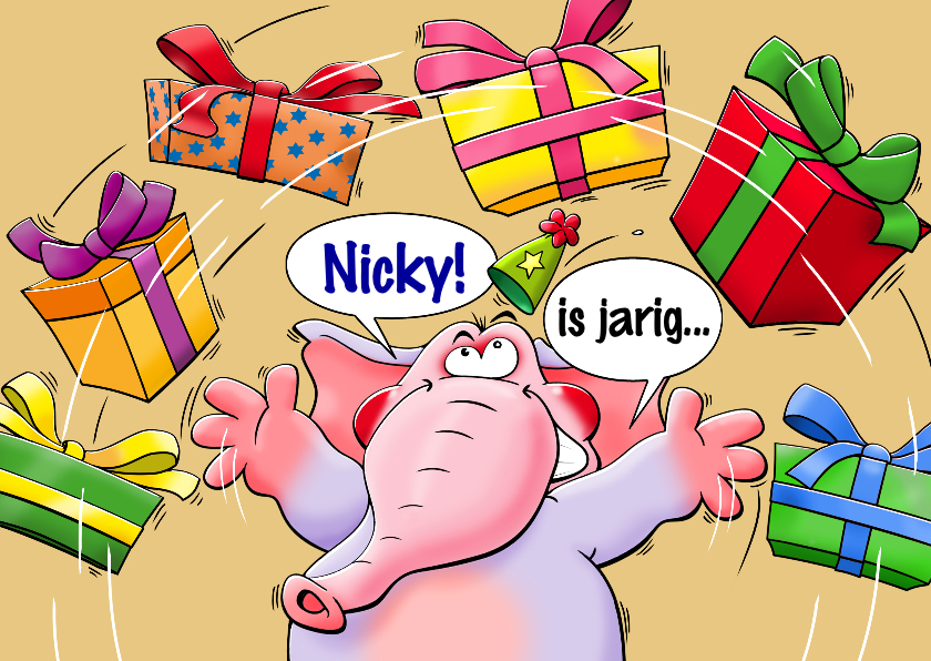Verjaardagskaarten - Grappige verjaardagskaart met olifant en pakjes