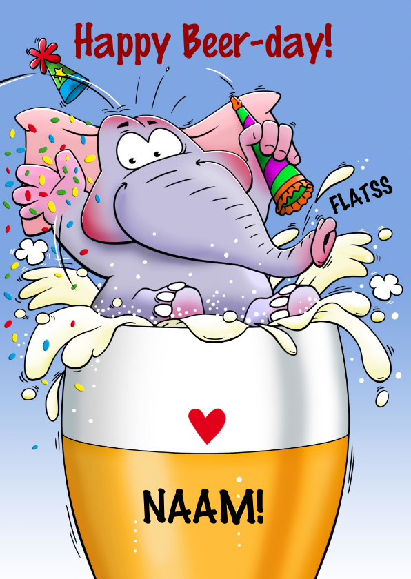 Grappige Verjaardagskaart Olifant In Glas Bier Kaartje2go
