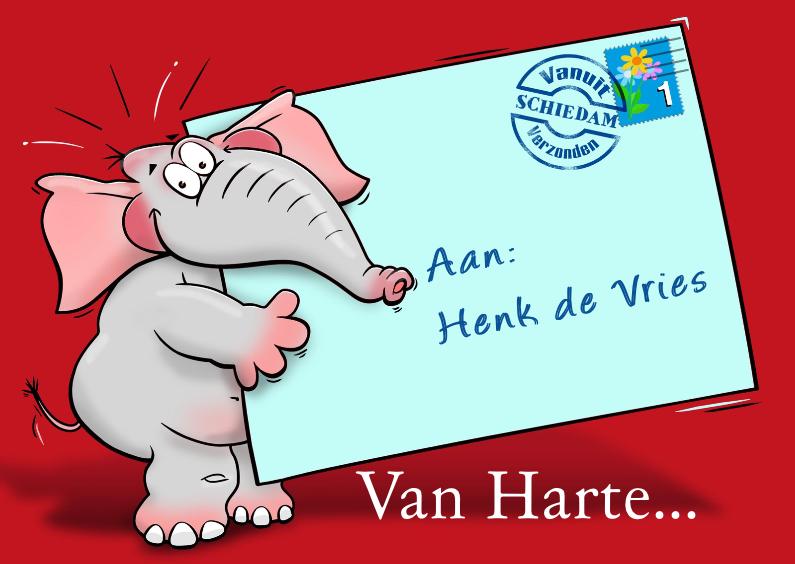 Verjaardagskaarten - Grappige verjaardagskaart olifant met briefje