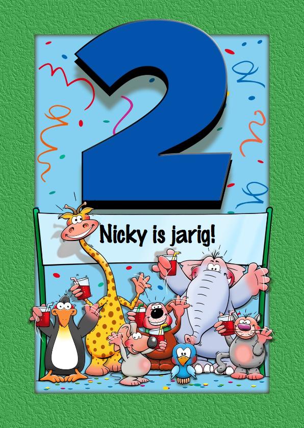 Verjaardagskaarten - Grappige verjaardagskaart voor kind dat 2 jaar wordt