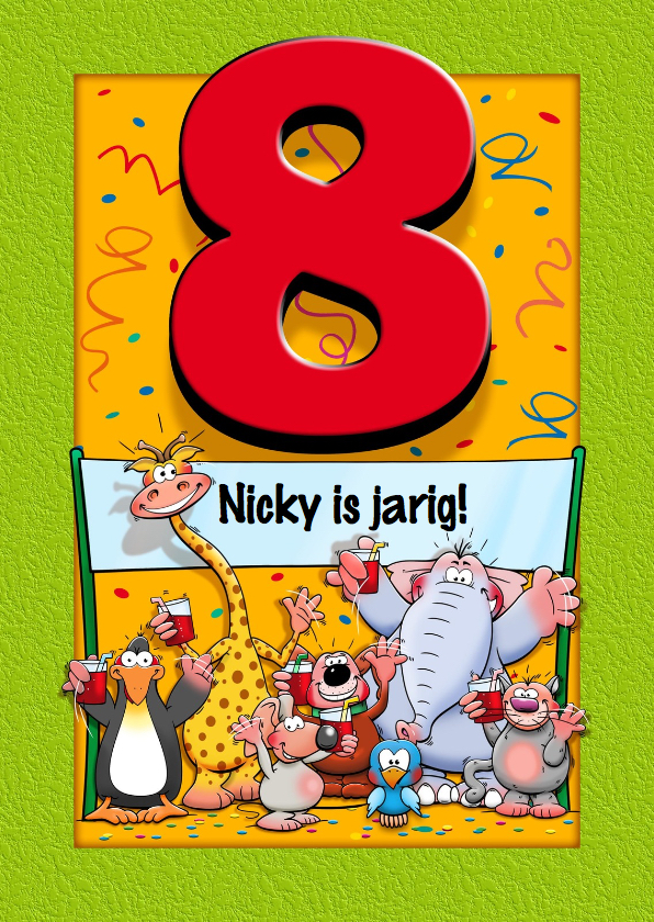 Verjaardagskaarten - Grappige verjaardagskaart voor kind dat 8 jaar wordt