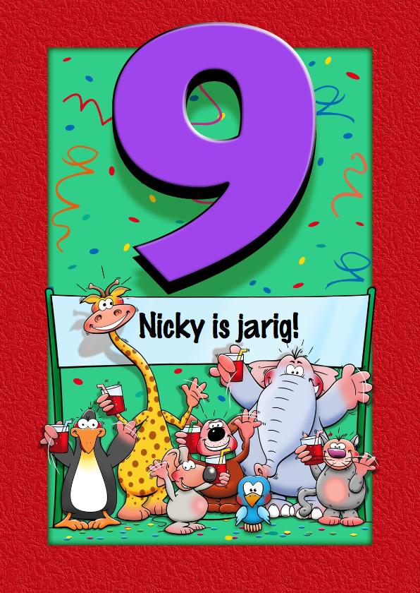 Verjaardagskaarten - Grappige verjaardagskaart voor kind dat 9 jaar wordt