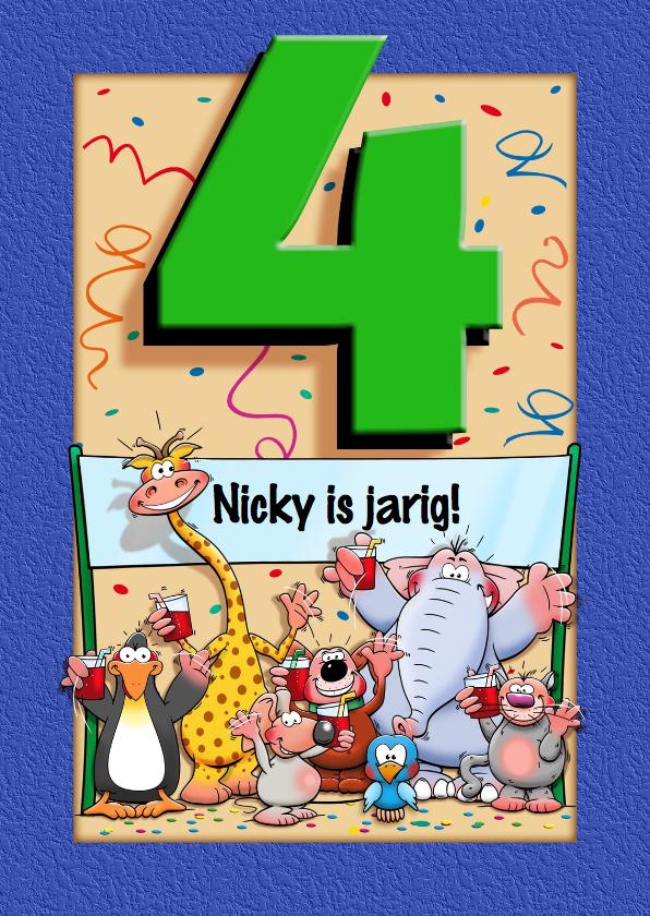 Verjaardagskaarten - Grappige verjaardagskaart voor kind van 4 jaar
