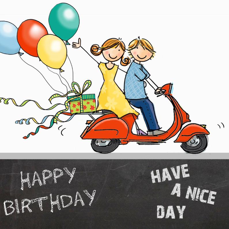 Verjaardagskaarten - Grappige Vespa Ape krijtbord