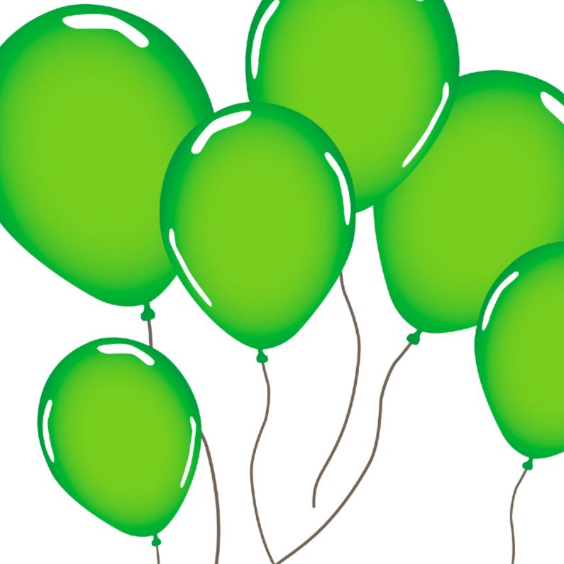 Verjaardagskaarten - Groene ballonnen