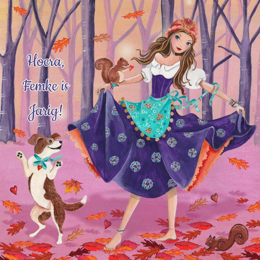Verjaardagskaarten - Gypsy Meisje Herfst Hond Jarig