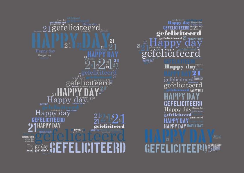 Verjaardagskaarten - Happy 21 jaar