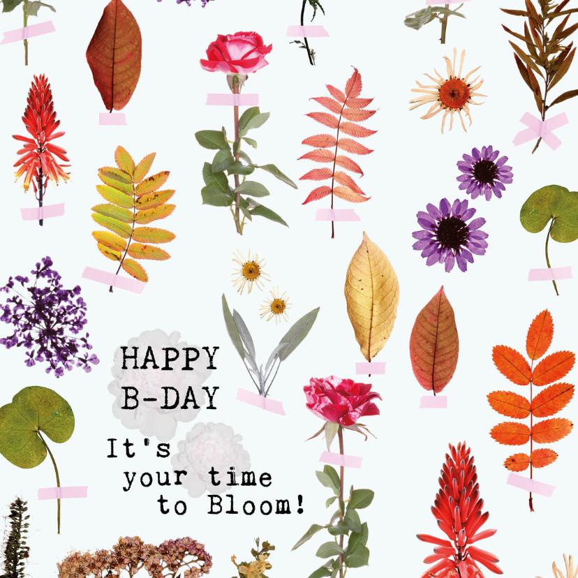 Verjaardagskaarten - Happy B-day It's your time to bloom!