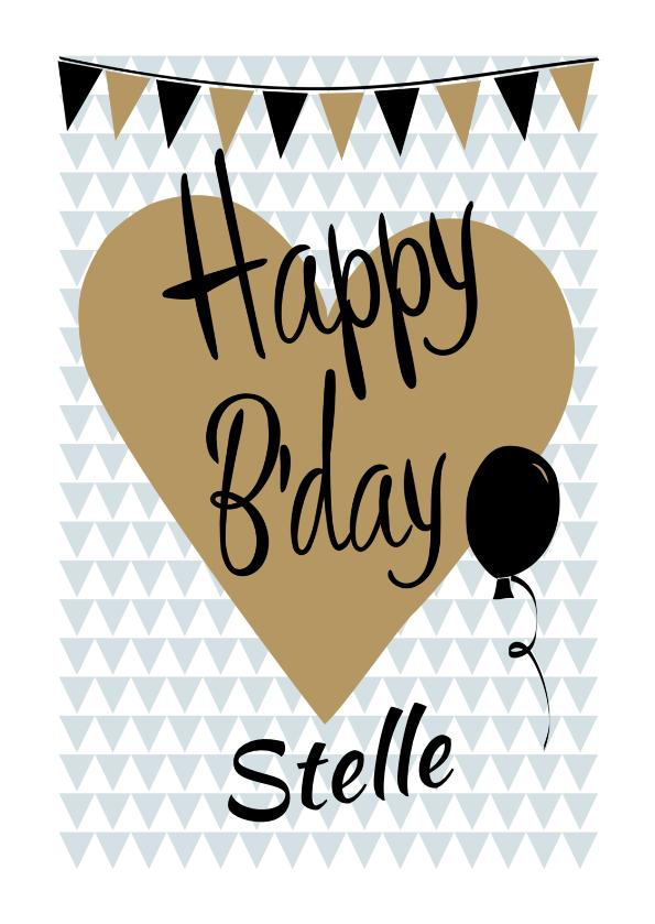 Verjaardagskaarten - Happy B'day op hart met slingers en met eigen naam