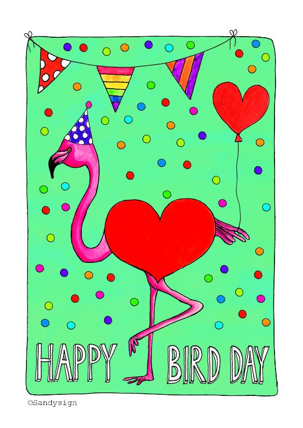 Verjaardagskaarten - Happy Bird Day flamingo verjaardagskaart - SD