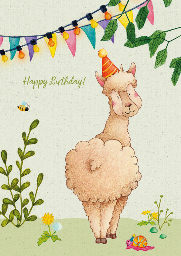 Verjaardagskaarten - Happy birthday alpaca