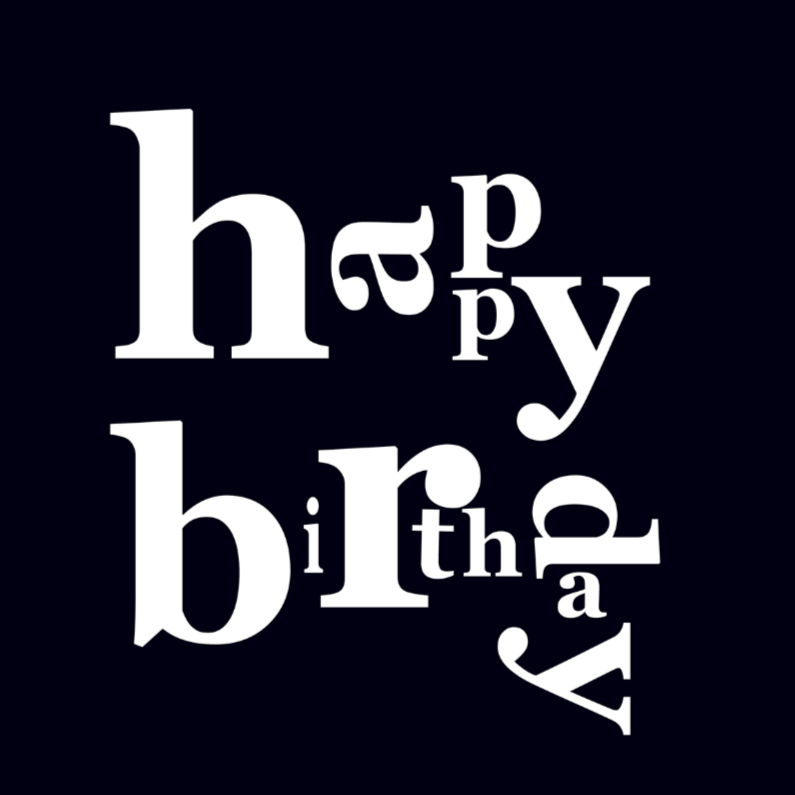 Verjaardagskaarten - happy birthday black