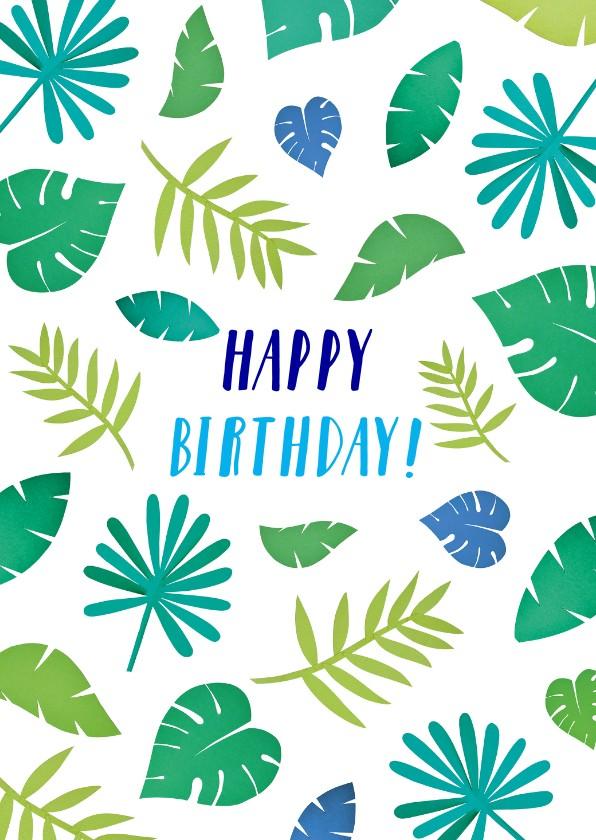 Verjaardagskaarten - happy birthday bladeren blauw