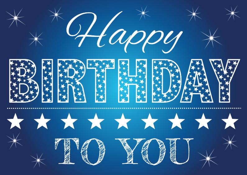 Verjaardagskaarten - Happy Birthday  blauw tekst