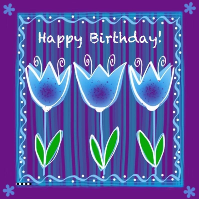 Verjaardagskaarten - Happy Birthday blauwe tulpen