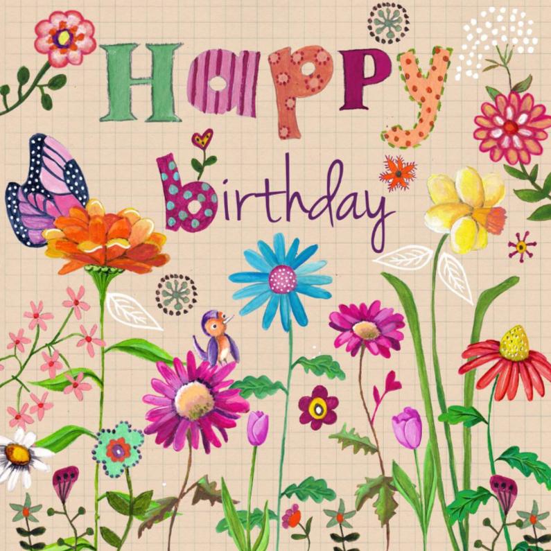 Verjaardagskaarten - Happy Birthday BLOEM Bloemen Vrolijk