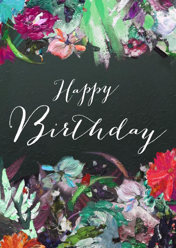 Verjaardagskaarten - Happy Birthday bloemen kunst