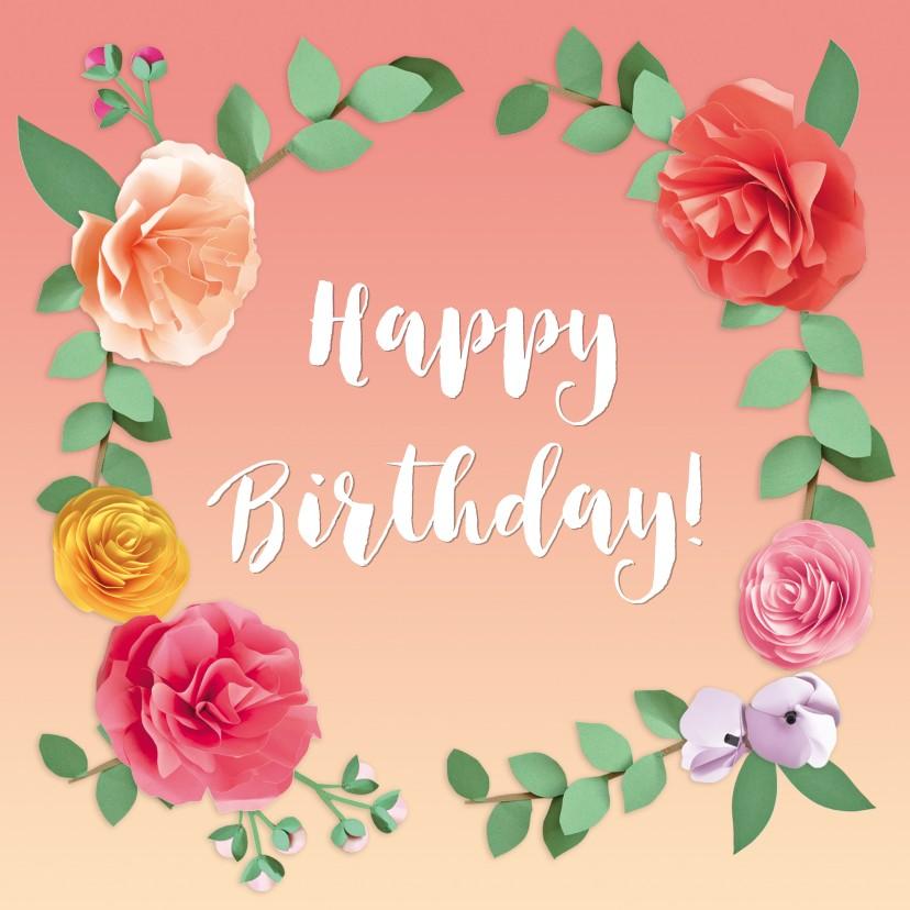 Verjaardagskaarten - Happy birthday bloemenkrans