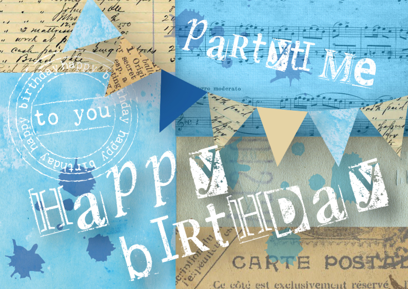 Verjaardagskaarten - Happy Birthday Blue Vintage