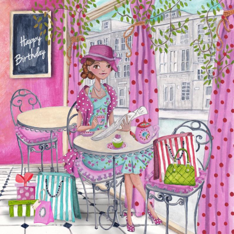 Verjaardagskaarten - Happy Birthday cafe meisje kado