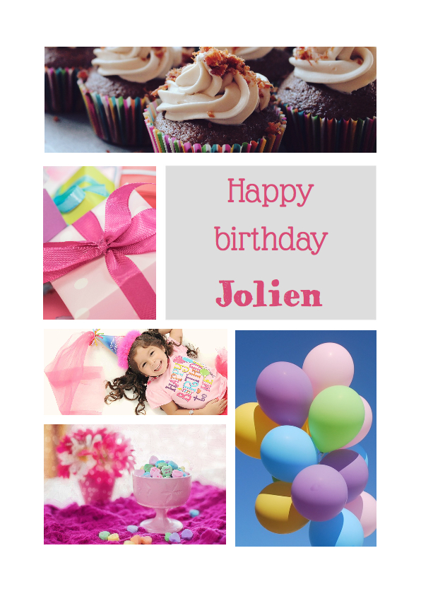 Verjaardagskaarten - Happy birthday collage - DH