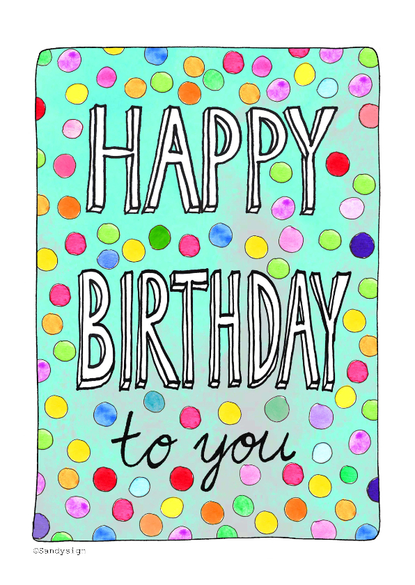 Verjaardagskaarten - Happy Birthday confetti - SD