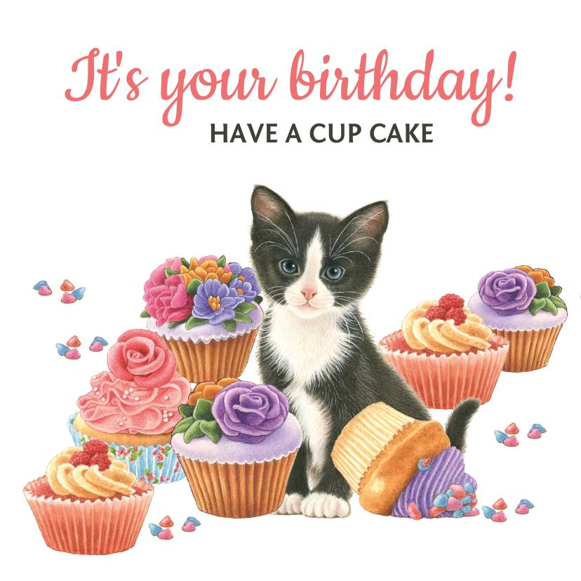 Verjaardagskaarten - Happy birthday cupcake met kitten
