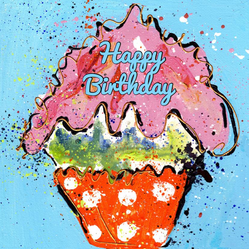 Verjaardagskaarten - Happy Birthday cupcake oranje met stip