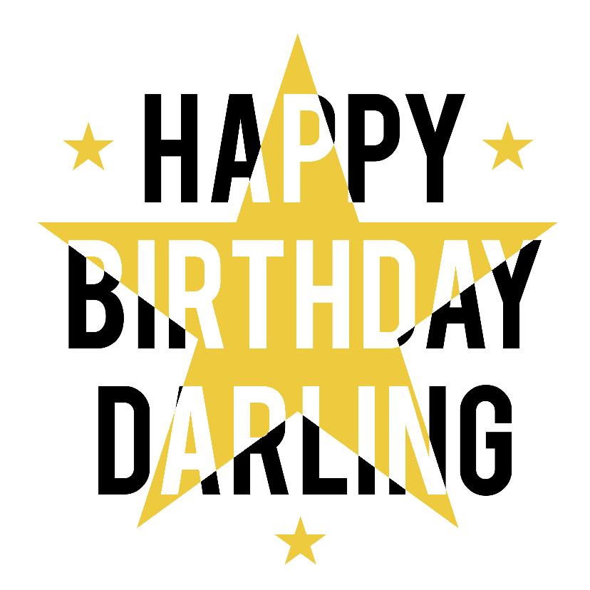 Verjaardagskaarten - Happy Birthday Darling ster
