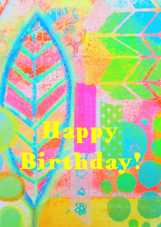 Verjaardagskaarten - Happy birthday feather