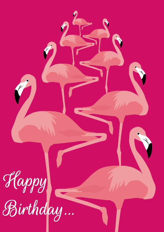 Verjaardagskaarten - Happy birthday flamingo's