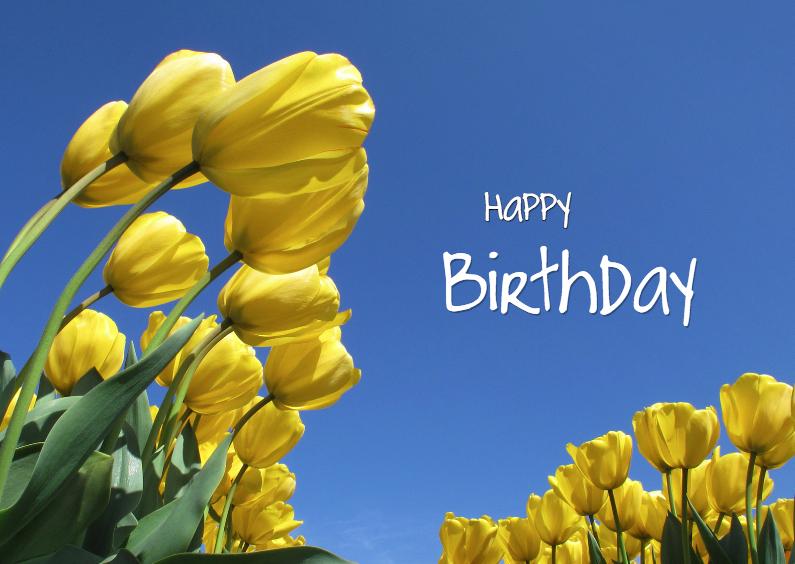 Verjaardagskaarten - Happy Birthday Gele Tulpen