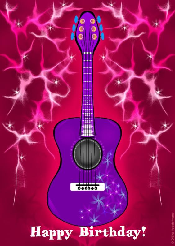 Verjaardagskaarten - Happy Birthday gitaar