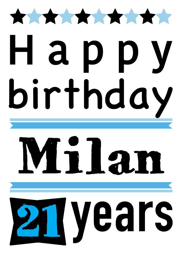 Verjaardagskaarten - Happy Birthday grafisch met naam